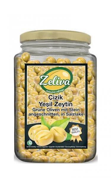 ZELIVA YESIL ZEYTIN CIZIK CAM 900G (olives verte taillés)