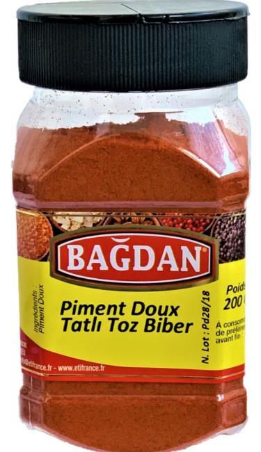 BAGDAN TATLI TOZ BIBER PET KAVANOZ 12x200gr ( piment doux  pot plastique)
