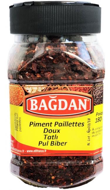 BAGDAN TATLI PUL BIBER PET KAVANOZ 12x180gr ( piment doux paillettes pot plastique)