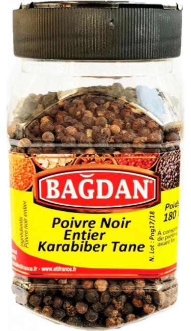BAGDAN KARABIBER PET KAVANOZ 12x180gr ( poivre noir entier pot plastique)