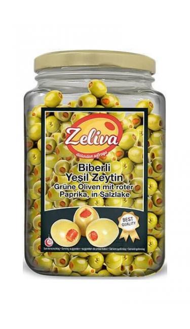 ZELIVA YESIL ZEYTIN BIBERLI CAM 900GR (olives vertes avec piments)