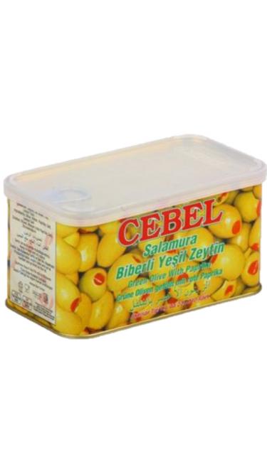 CEBEL Y. ZEYTIN BIBERLI TENEKE 600 GR (olive verte au pimenté)
