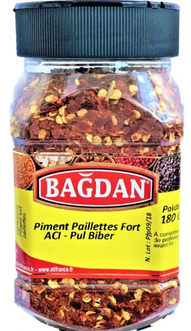 BAGDAN ACI PUL BIBER PET KAVANOZ 12x180gr ( piment fort paillettes pot plastique)