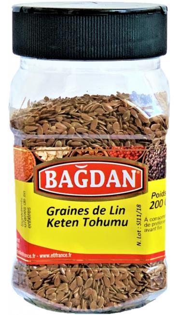 BAGDAN KETEN TOHUMU PET KAVANOZ 12x200gr (graines de lin entiere pot plastique)