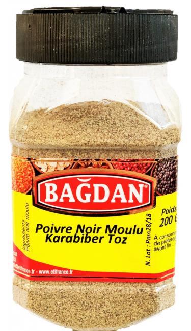 BAGDAN TOZ KARABIBER PET KAVANOZ 12x200gr ( poivre noir moulu pot plastique)