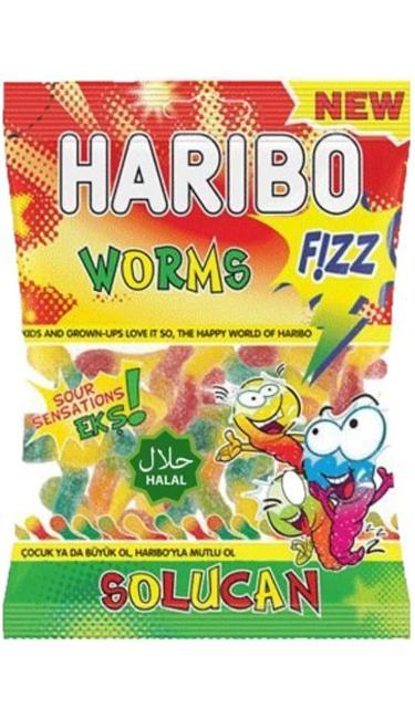 HELAL HARIBO FIZZY SOLUCAN 100 GR (bonbons acidulés vers de terre)