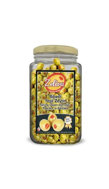 ZELIVA YESIL ZEYTIN BIBERLI CAM 500G (olives vertes avec piments)