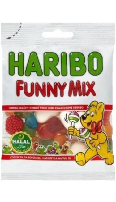 HELAL HARIBO FUNNY MIX 75 GR JELANTINSIZ  (bonbons sans gélatine)