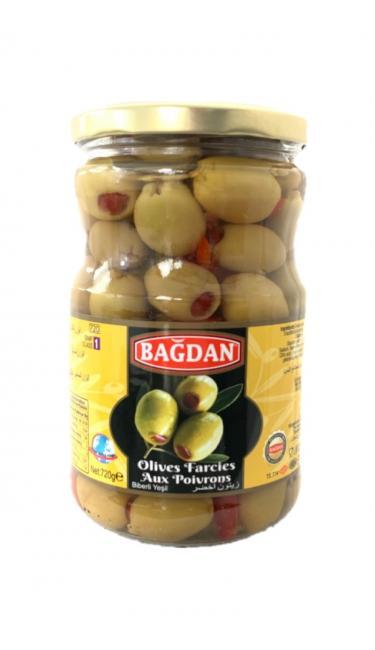 BAGDAN CAM YESIL ZEYTIN BIBERLI  (olives vertes farcis aux poivron)