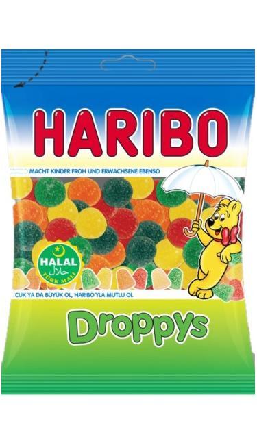 HELAL HARIBO DROPPYS 80 GR (bonbons mous fruité)
