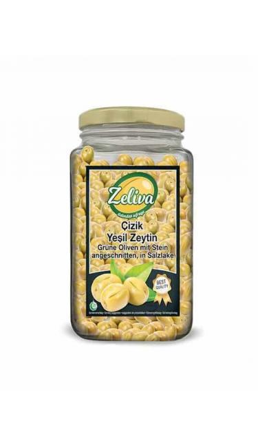 ZELIVA YESIL ZEYTIN CIZIK CAM 500G (olives verte taillés)