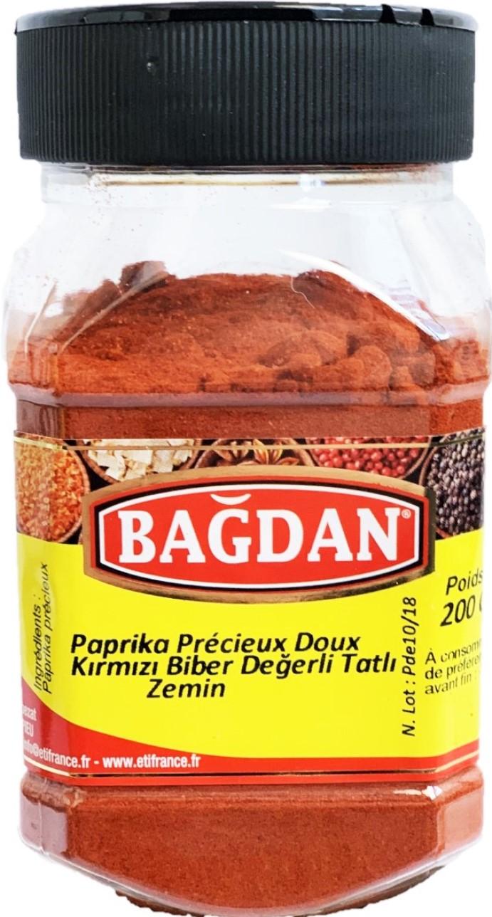 BAGDAN TATLI KIRMIZI TOZ BIBER DEGERLI PET KAVANOZ 12x200gr (paprika doux precieux pot plastique)