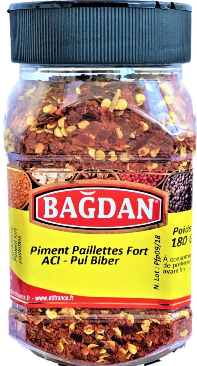 BAGDAN ACI PUL BIBER PET KAVANOZ 12x180gr ( piment fort paillettes pot plastique)