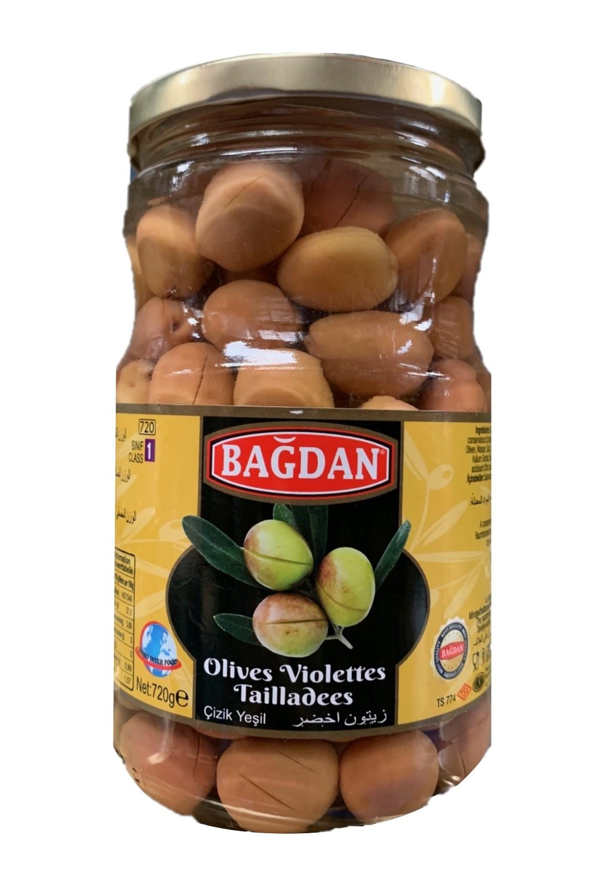 BAGDAN CAM YESIL ZEYTIN CIZIK  (olives vertes coupées)