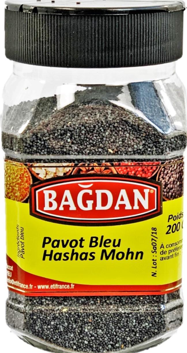 BAGDAN MAVI HASHAS PET KAVANOZ 12x200gr (pavot bleu pot plastique)