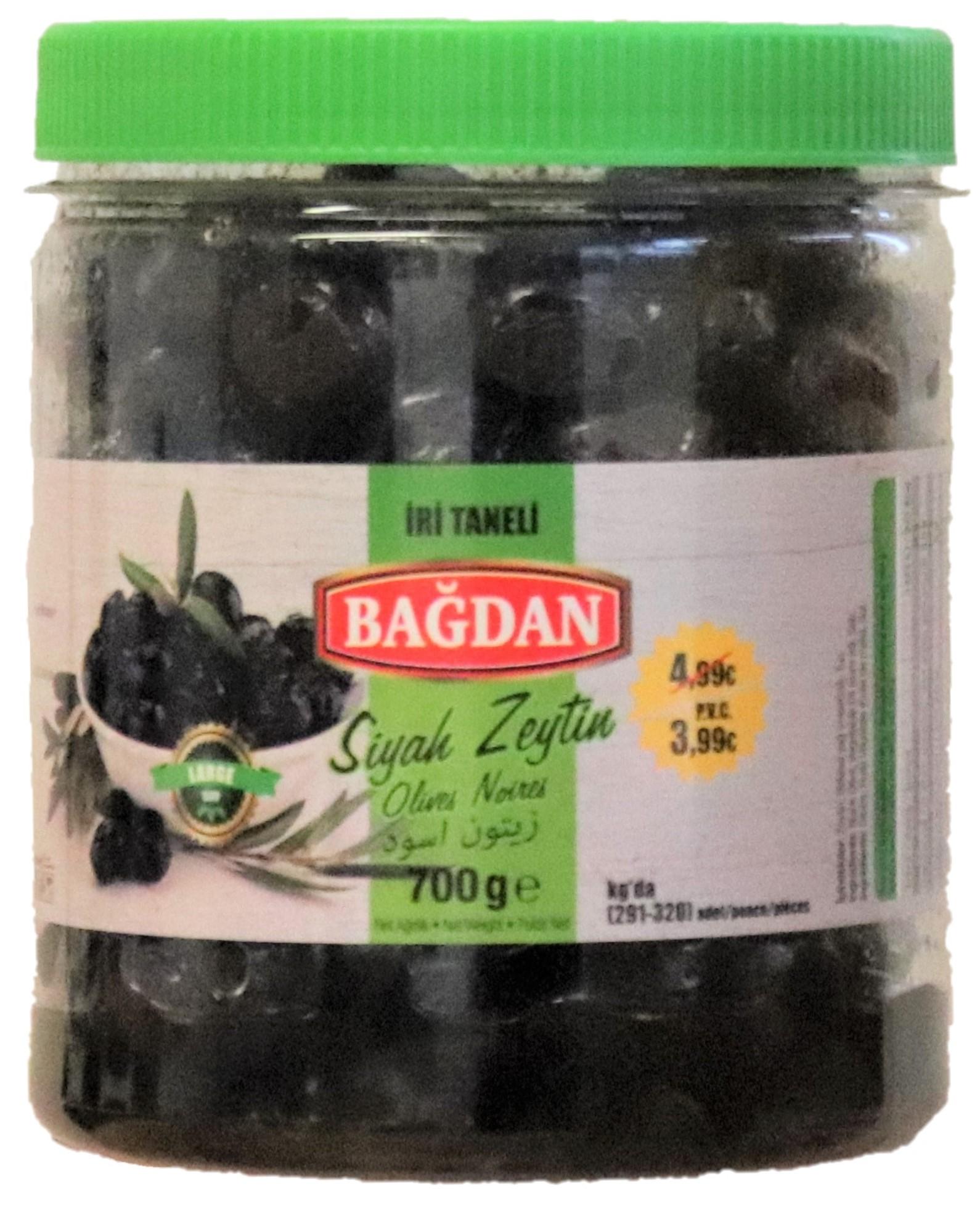BAGDAN S.ZEYTIN IRI TANELI 6x700GR PROMO 3.99 ( olives noir cal.gros)